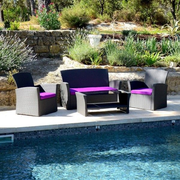Salon de jardin Ibiza Anthracite/Violet - 4 places