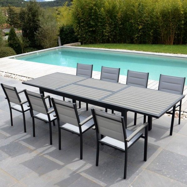 salon de jardin amazonia gris 9 pi ces salon de jardin table et chaise eminza. Black Bedroom Furniture Sets. Home Design Ideas