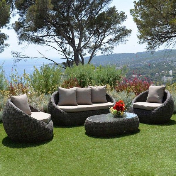 Salon de jardin Samoa Marron/Taupe - 4 places - Salon de jardin ...