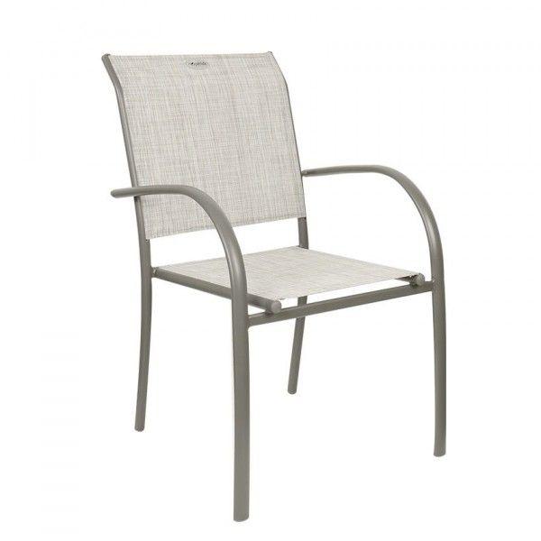 Fauteuil de jardin empilable Piazza - Taupe chiné/Mastic - Chaise et ...