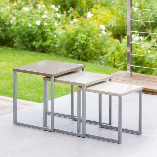 Lot de 3 tables d'appoint Gigogne Manaus Taupe