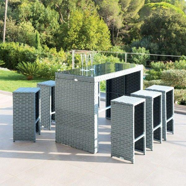 Salon de jardin haut Tinos Blue stone/Gris - 6 personnes