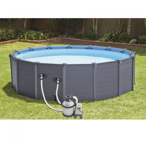 Piscine tubulaire ronde intex Graphite 4,78 x 1,24 m