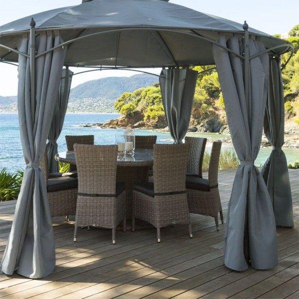 lot de 6 rideaux de tonnelle iloha ardoise tonnelle et. Black Bedroom Furniture Sets. Home Design Ideas