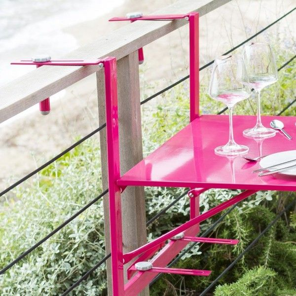 Tablette de balcon rabattable camargue 60 x 53 cm - Table suspendue pour balcon ...