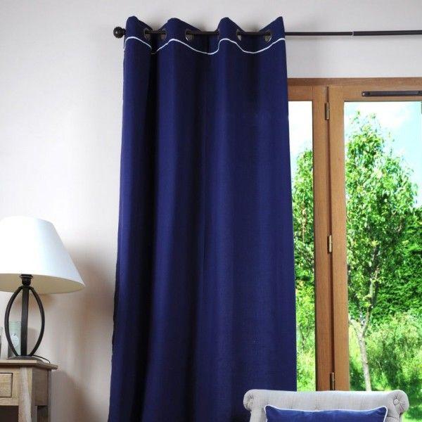 linge de maison rideau et voilage bleu tissus
