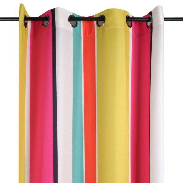 Rideau (135 x H260 cm) Plage rayure Multicolore - Rideau / Voilage ...
