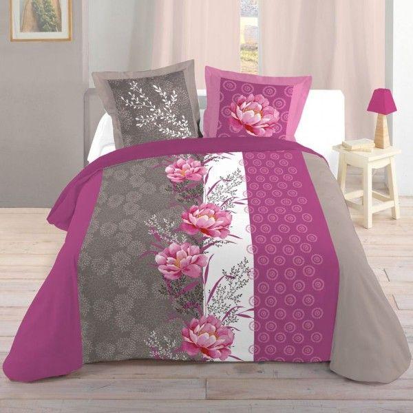 Housse de couette linge de lit eminza - Housse de couette grise et rose ...