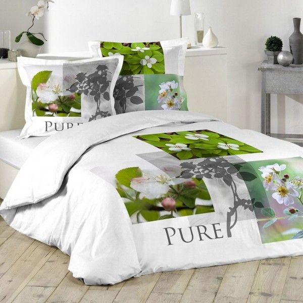 housse de couette vert linge de lit eminza. Black Bedroom Furniture Sets. Home Design Ideas