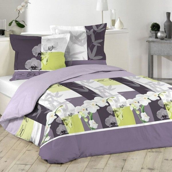 linge de lit violet eminza. Black Bedroom Furniture Sets. Home Design Ideas
