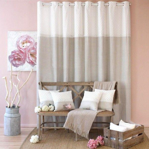 rideau tamisant 140 x h240 cm romantique dentelle lin. Black Bedroom Furniture Sets. Home Design Ideas