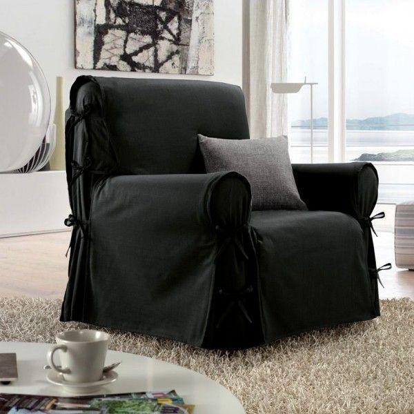 housse de fauteuil victoria noir housse de chaise et fauteuil eminza. Black Bedroom Furniture Sets. Home Design Ideas