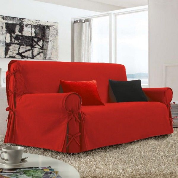 housse de canap 3 places victoria rouge d co textile. Black Bedroom Furniture Sets. Home Design Ideas