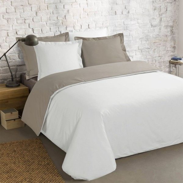 housse de couette et deux taies 240 cm bi color taupe et blanc housse de couette eminza. Black Bedroom Furniture Sets. Home Design Ideas