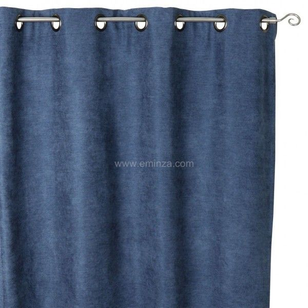 Rideau occultant isolant 140 x h260 cm alaska bleu rideau voilage store eminza for Rideau occultant isolant