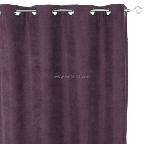 Rideau occultant isolant 140 x h260 cm alaska aubergine rideau voilage store eminza for Rideau occultant isolant