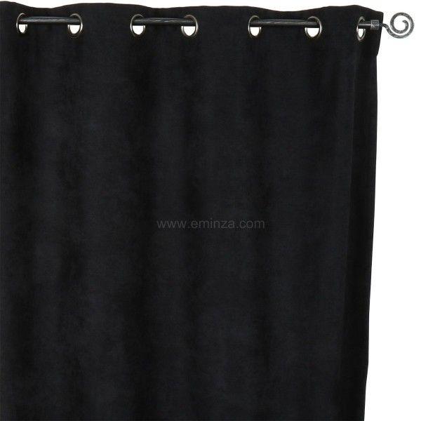 Rideau occultant isolant 140 x h260 cm alaska noir rideau isolant eminza for Rideau occultant isolant