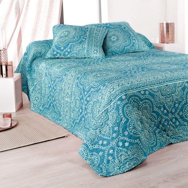 boutis et taies d 39 oreiller 230 x 250 cm mandala bleu couvre lit boutis eminza. Black Bedroom Furniture Sets. Home Design Ideas