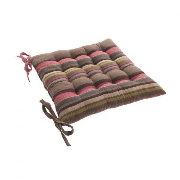 Galette et coussin de chaise taupe coussin et galette - Coussin de chaise ...