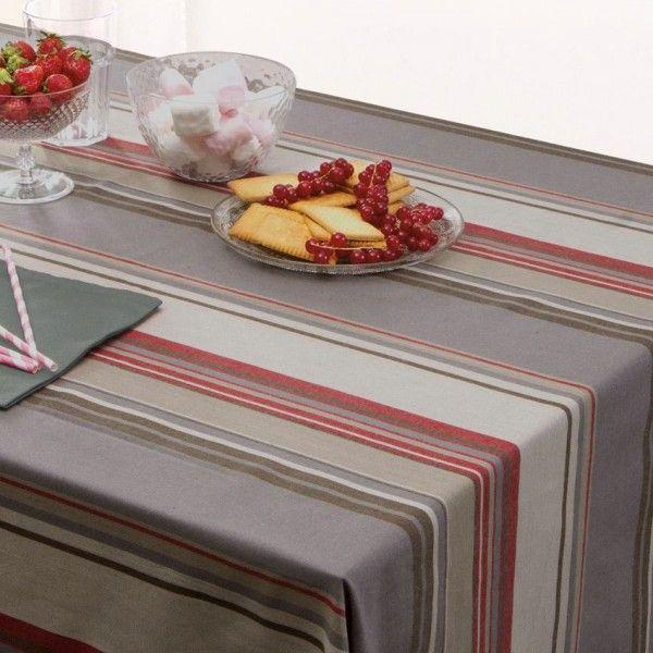 Nappe rectangulaire l240 cm rayure gris linge de table - Nappe de table rectangulaire ...