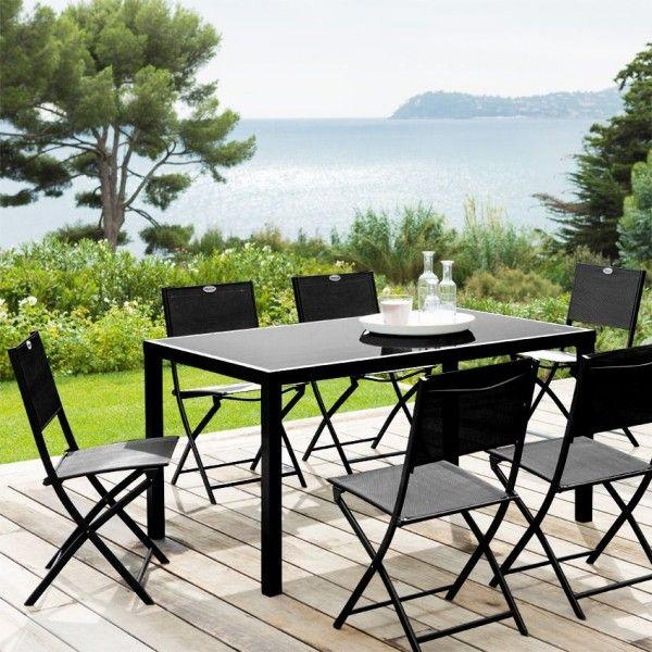 salon de jardin piazza fixe noir 8 personnes salon de jardin table et chaise eminza. Black Bedroom Furniture Sets. Home Design Ideas