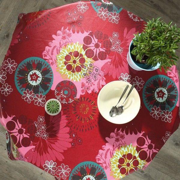 nappe ronde enduite d155 cm imprim e mandala rouge linge de table eminza. Black Bedroom Furniture Sets. Home Design Ideas