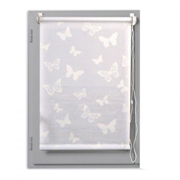 Store enrouleur tamisant (45 x H180 cm) Papillons Blanc - Rideau ...