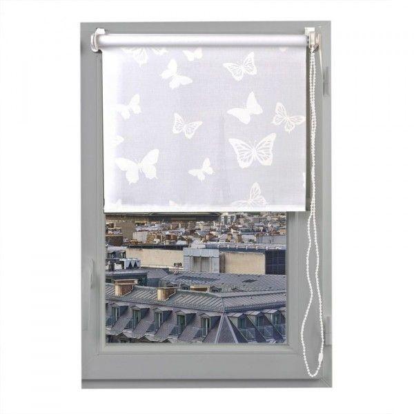 Store enrouleur tamisant (60 x H180 cm) Papillons Blanc - Rideau ...