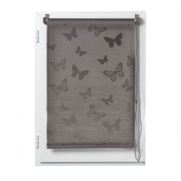 Store enrouleur tamisant (90 x H180 cm) Papillons Taupe