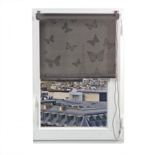 store enrouleur tamisant 90 x 180 cm papillons taupe. Black Bedroom Furniture Sets. Home Design Ideas