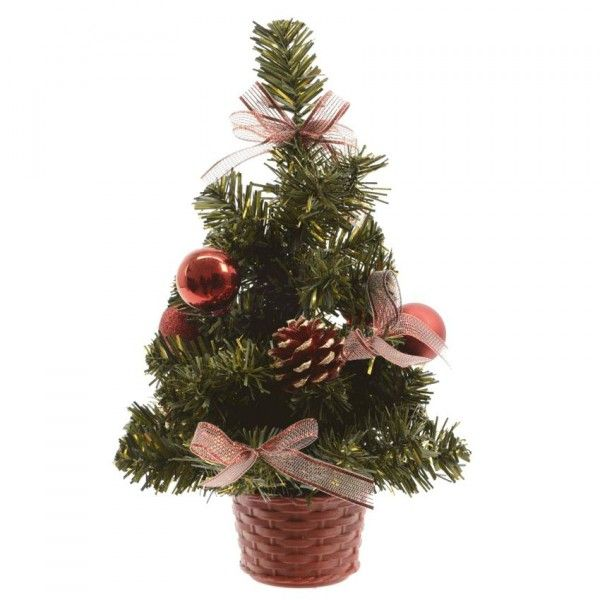 Sapin artificiel de table décoré Décoré H20 cm Rouge