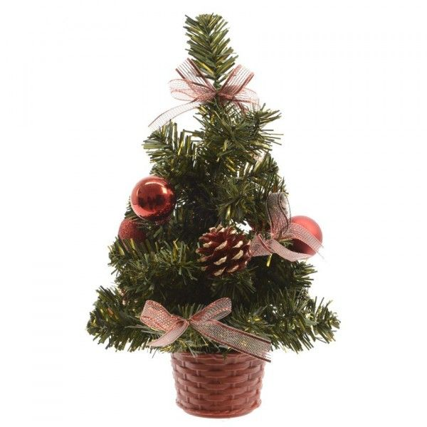 Sapin artificiel de table décoré Décoré H25 cm Rouge