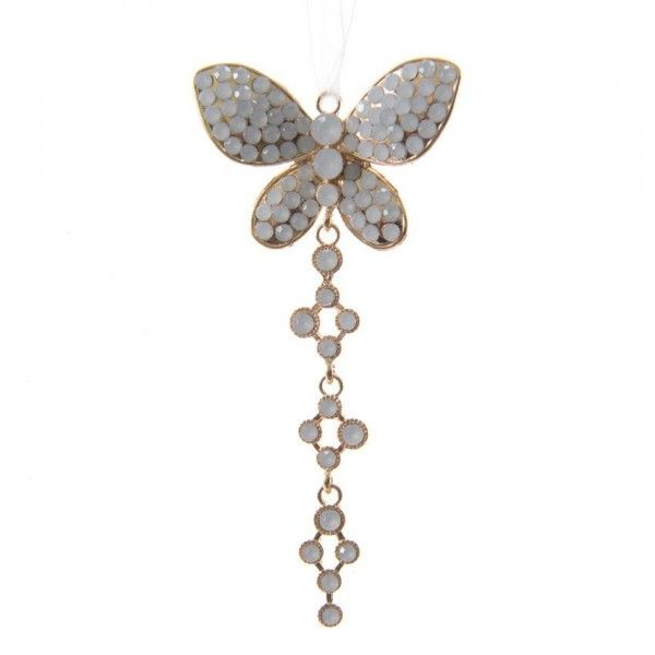 Suspension précieuse papillon strass Or