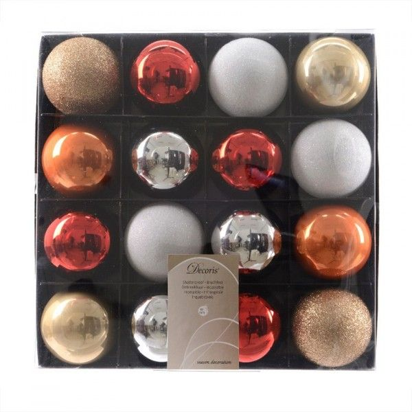 Lot de 16 boules de Noël (D60 mm) Luxe Orange
