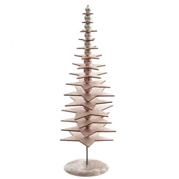 Sapin de table décoratif Pailleté H25 cm Naturel