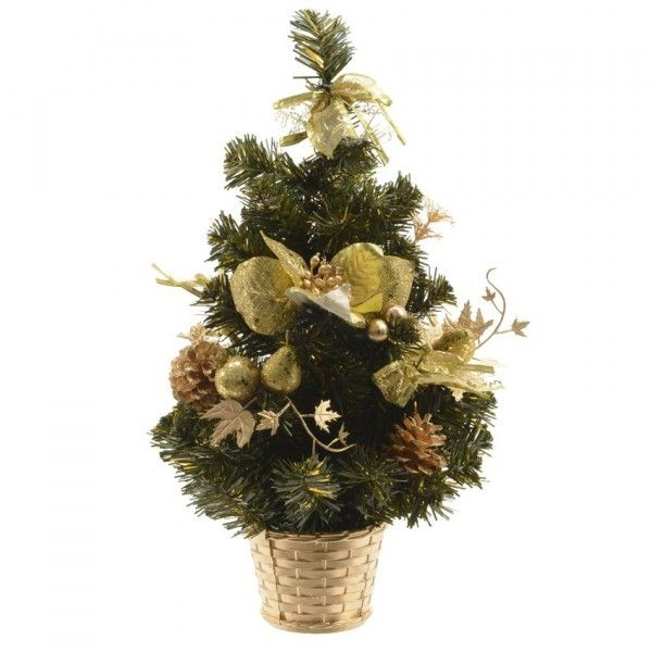 Sapin artificiel de table décoré Décoré H40 cm Or