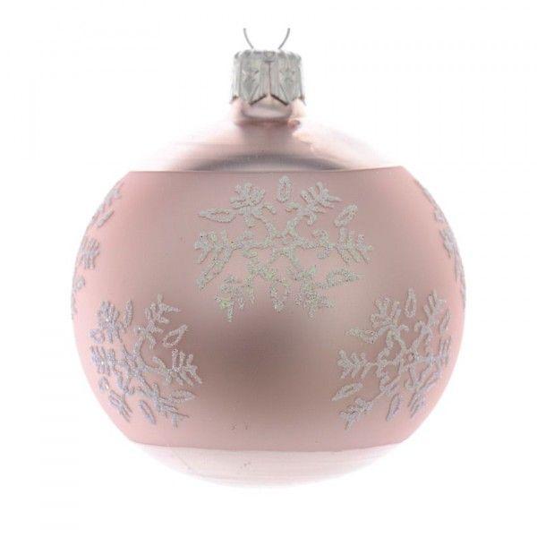 lot de 6 boules de no l d70 mm flocon poudr rose poudr boule et d co de sapin eminza. Black Bedroom Furniture Sets. Home Design Ideas
