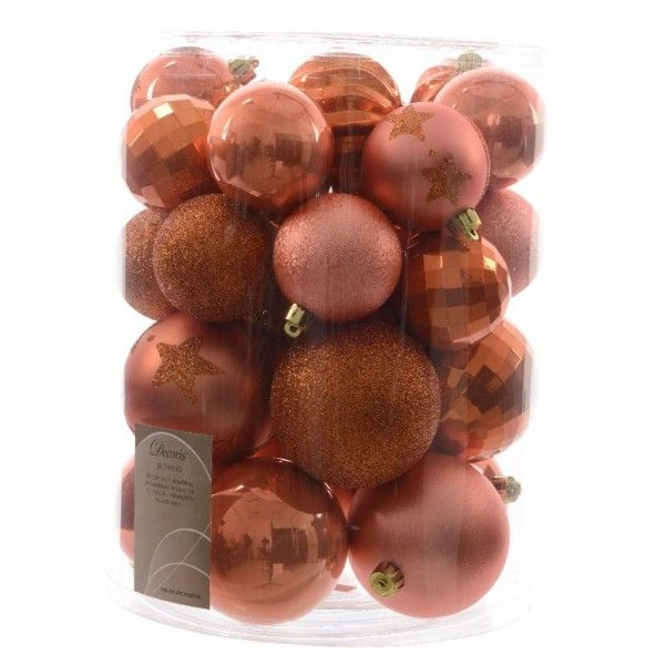 Lot de 30 boules de Noël unies Mix Orange