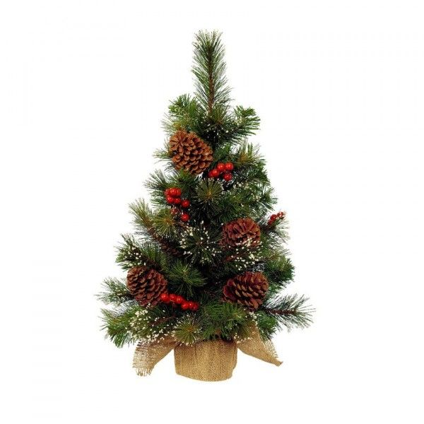 Sapin artificiel de table Pomme de pin H40 cm Vert enneigé