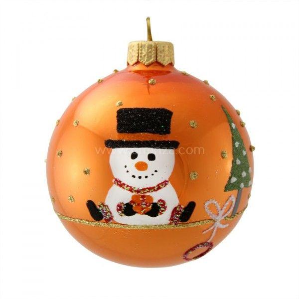 Boule De Noel Orange Lot de 6 boules de Noël (D80 mm) Personnage de Noël Orange   Boule