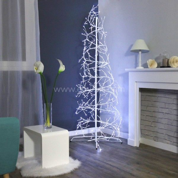 Sapin hélice lumineux Galactis H240 cm Blanc froid