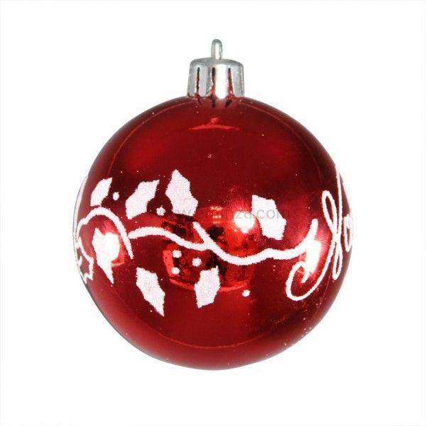lot de 4 boules de no l d80 mm feuillage rouge boule de no l eminza. Black Bedroom Furniture Sets. Home Design Ideas