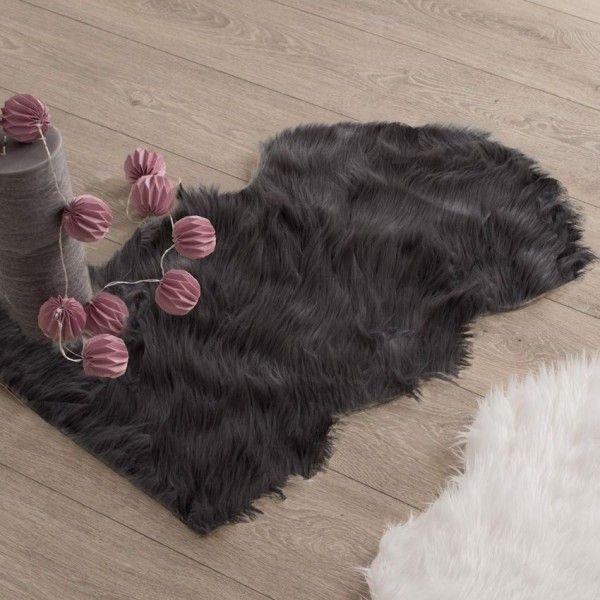tapis peau de bte 90 cm imitation fourrure gris - Tapis Peau