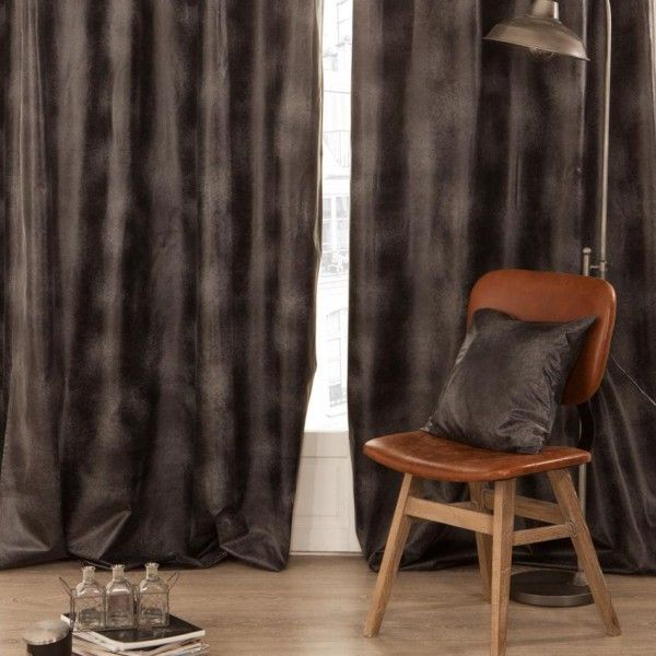 Rideau tamisant (140 x H260 cm) imitation Cuir Noir - Rideau ...