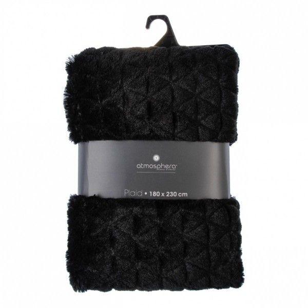 plaid fausse fourrure 230 cm casual noir plaid fausse fourrure eminza. Black Bedroom Furniture Sets. Home Design Ideas