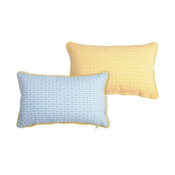 coussin rectangulaire geok jaune et bleu d co textile. Black Bedroom Furniture Sets. Home Design Ideas
