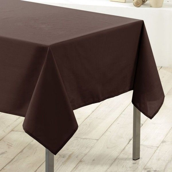 nappe rectangulaire anti tache l250 cm essentiel chocolat nappe de table eminza. Black Bedroom Furniture Sets. Home Design Ideas