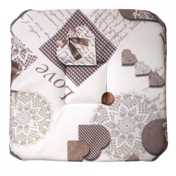 galette de chaise cosy home taupe d co textile eminza. Black Bedroom Furniture Sets. Home Design Ideas