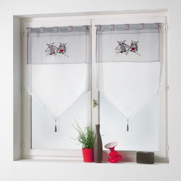 paire de voilage 60 x h160 cm brod chouettia taupe rideau voilage store eminza. Black Bedroom Furniture Sets. Home Design Ideas