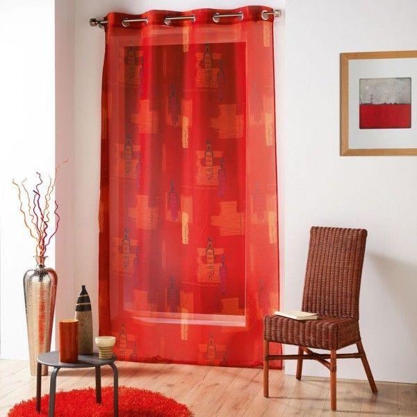 voilage 140 x 240 cm jaya rouge rideau voilage. Black Bedroom Furniture Sets. Home Design Ideas